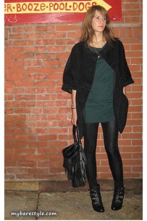 H&M coat - American Apparel dress - American Apparel pants - melie bianco purse