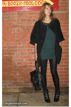 H&M coat - American Apparel dress - American Apparel pants - melie bianco purse