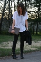 Express t-shirt - forever 21 jeans - Guess boots - melie bianco purse - bare acc