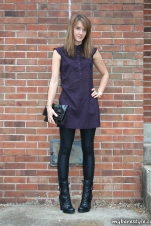 forever 21 dress - American Apparel pants - Guess shoes - vintage purse - bare a