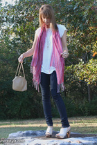 Street Vendor scarf - Lux shirt - forever 21 pants - Aldo shoes - vintage purse