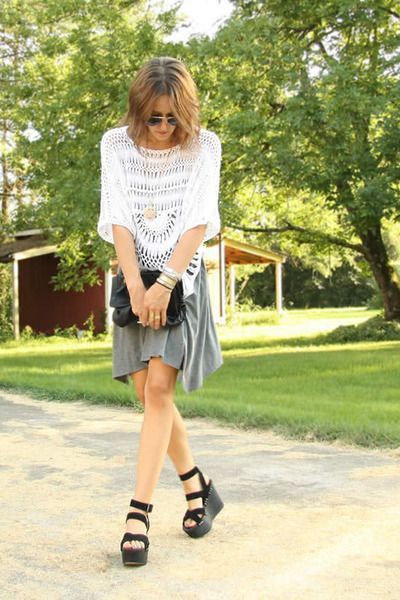 gray tank Express dress - black Joes Jeans shoes - white Seventh Door sweater