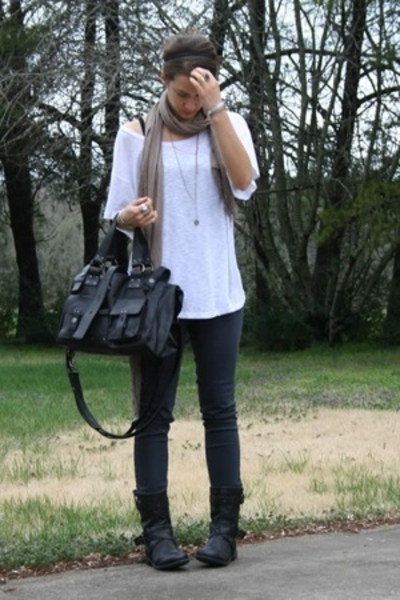 forever 21 t-shirt - scarf - forever 21 jeans - RVCA purse - Palladium boots - b