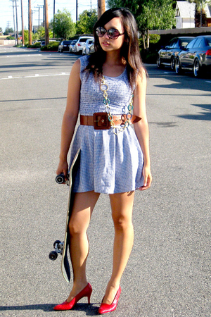 Van Eli shoes - thrifted dress - Forever21 belt - Forever21 necklace