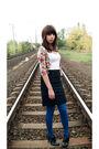 Black-skirt-black-boots-white-bershka-top-pink-pull-bear-cardigan-blue-c