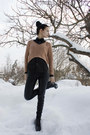 Black-gojane-shoes-light-orange-cropped-bikbok-sweater-black-comme-des-garco