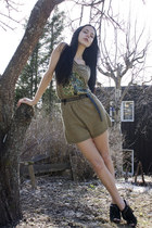 black Jessica Simpson shoes - olive green iiS of Norway romper