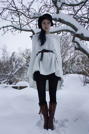 white knit lindex cape - brown Benelli boots - black lindex tights