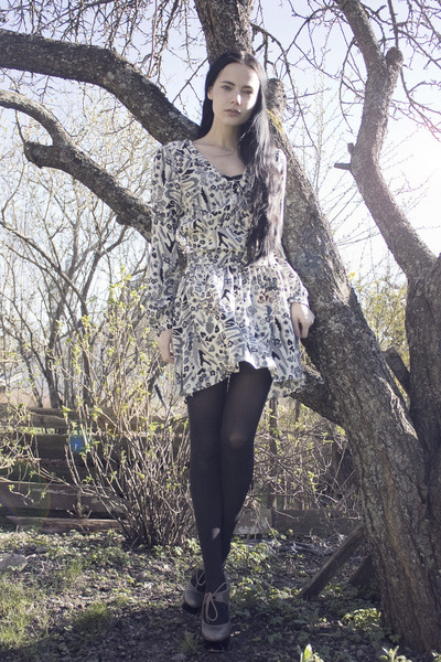 sheer floral Mad Love dress - asos shoes - random tights
