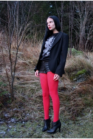 red cubus leggings - black gojane boots - black kappahl blazer