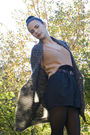 Beige-bikbok-sweater-black-gina-tricot-shorts-brown-vintage-belt-gray-cubu