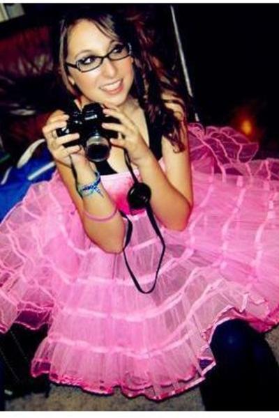 pink dress - pink Nine West shoes - black black tights Target tights