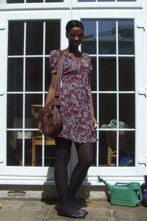 red Topshop dress - brown Marks & Spencer