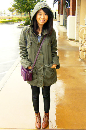 purple bag - army green coat - navy jeans - brown shoes