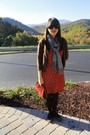 Red-gap-dress-silver-scarf-brown-cardigan-brown-tights-brown-shoes-red