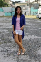 bubble gum top - purple top - white Lee Philippines shorts - ivory CLN sandals