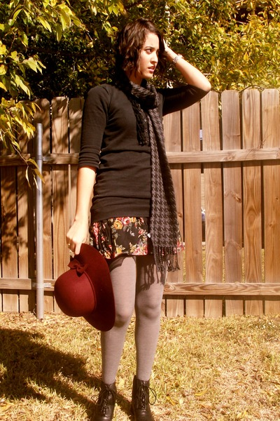 thrifted dress - thrifted sweater - Forever21 boots - Forever 21 hat