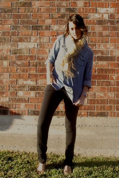 Charlotte Russe shirt - thrifted pants - thrifted shoes - thrifted scarf