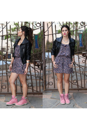 leather jacket H&M jacket - boots Timberlands shoes - romper Forever 21 dress