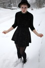 Black-turtleneck-american-apparel-dress-black-h-m-hat