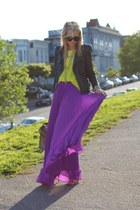 amethyst maxi skirt Zara skirt - chartreuse neon shirt H&M shirt