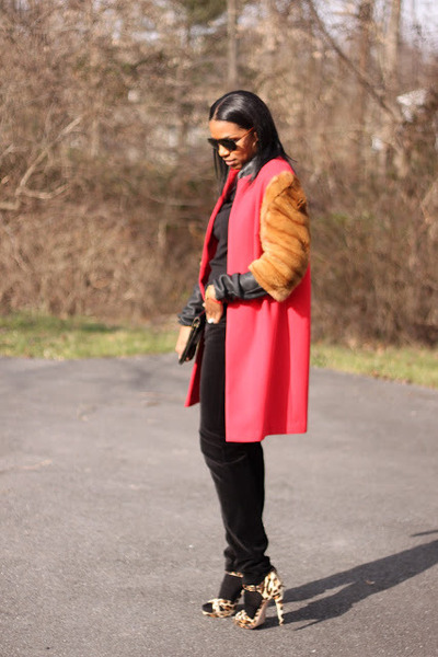 red DIY coat - black Givenchy sweater - black velvet BCBG pants - Miu Miu heels