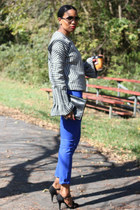 bell sleeve DIY sweater - waxed skinny J Brand jeans - vintage clutch Fendi bag