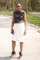 leather DIY top - DIY skirt - Camilla Skovgaard heels