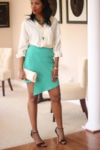 asymmetric DIY skirt - Burberry shirt - leather clutch DIY bag