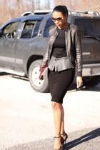 black peplum Stella McCartney top - black leather acne jacket