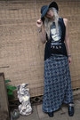 Black-studded-diy-boots-navy-printed-maxi-mossimo-dress