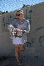 white denim skirt - dark khaki shirt - dark brown sunglasses - brown sandals