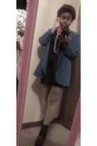black black fitted Forever21 dress - blue blue Forever21 blazer