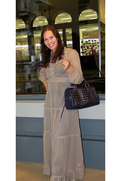 beige asos dress - blue Rebecca Minkoff bag - brown sam edelman boots - gold hou