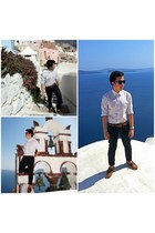 brown Topman shoes - navy Topman jeans - white polka dots Zara shirt