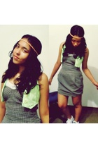 green Renner vest - gray dress - purple nike shoes - white Zara t-shirt - white