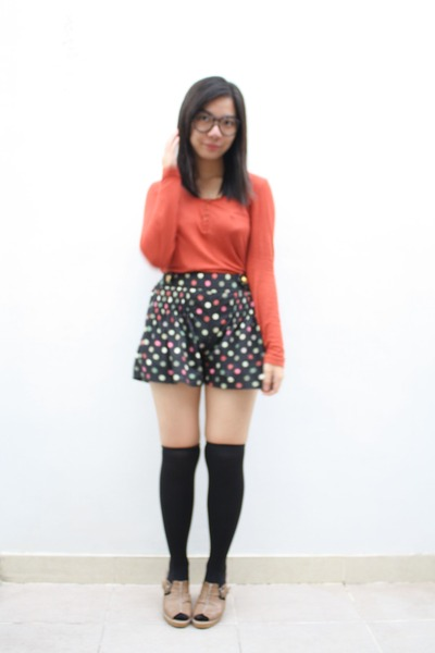 black glitz shorts - black unbranded socks - carrot orange Mango top - black unb