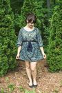 Green-francescas-collection-dress-black-urban-outfitters-shoes-brown-grandma