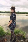 Blue-ruche-dress-black-kohls-tights-black-urban-outfitters-shoes