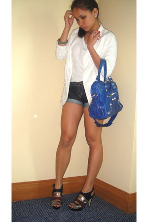 blue balenciaga bag - blue Mango shorts - white my moms blazer - white Topshop s
