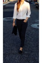 black shoes - gray jeans - Zara blouse
