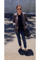 black polkadots Zara blazer - black shoes - blue DIY jeans