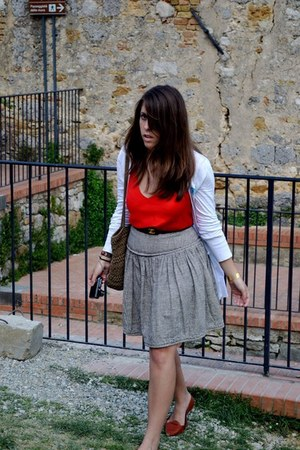 skirt - shoes - leather Chanel belt - Ann Klein blouse - white Top Shop cardigan