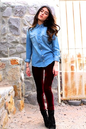 crimson velvet asos leggings - blue denim shirt Cello shirt