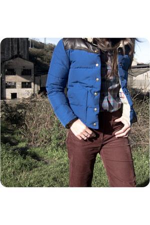 blue Penfield jacket - maroon sessun pants