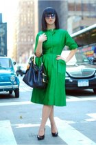 green saks dress - black Jessica Simpson shoes - black Michael Kors purse