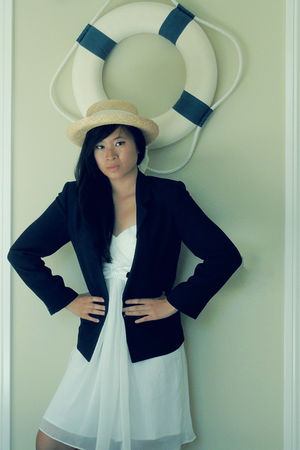 blue Thrift Store blazer - white Forever 21 dress - beige Thrift Store hat