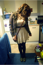 brown new look coat - beige Topshop dress - black Dorothy Perkins tights - brown