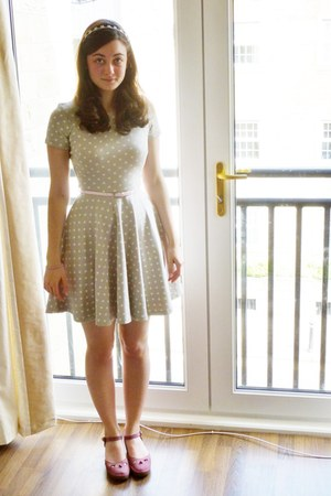 heather gray H&M dress - light pink skinny H&M belt
