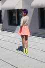 Coral-zara-skirt-cream-urbanoutfitters-top-yellow-zara-sandals